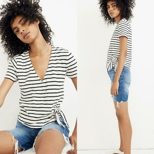 Madewell Short Sleeve Striped Wrap Top Small